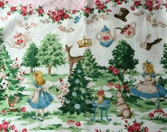 SLAE Alice in wonderland fabric pink base colour One yard Entering wonderland
