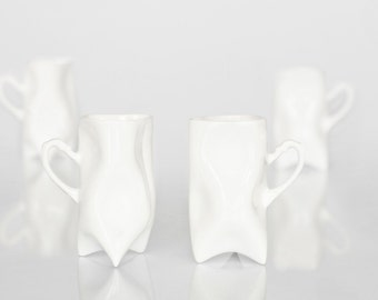 Porcelain cups set of four white , ceramic cups handbuilt for coffee or tea by Endesign
