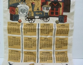 Vintage Tea Towel, 1977 Calender Towel, Burlap Linen Fabric, Home and Living, Kitchen Decor, Craft Fabric,