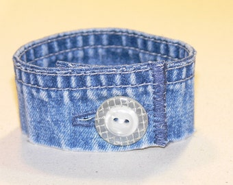"Upcycled Denim Bracelet with Button (7 1/2"")"