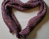 """Scarf - Handknit Twisted and Garter Stitch ~ """"Taffy"""" ~ Blue, Pink, Purple and Yellow Multi Strand Cotton and Silk Yarn ~ Heavy, Thick"""