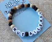Medical Alert Beaded Stretch Bracelet-Food Allergy Bracelet-Wood beads