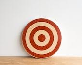Target Circle Art Block -  Red, White, Wood  Grain, archery target, bull's eye, rings, colorway #23