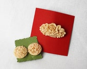 SALE Brooch and earring set. Clips. Flower basket.