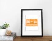 80's Retro Orange Cassette Mix Tape Printable Art, Illustration, Poster | Vintage Wall Decor, Inspirational Quote - 8x10 Digital Art Print