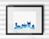 Nashville Skyline watercolor illustration print 8x10 inches, digitally printed on white linen stock, unique gift for travel or Southern love