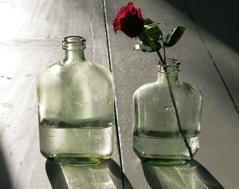 French Country style Vintage green bottles set, vase, home decor