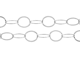 Sterling Silver 10mm Flat Circle Chain - 5ft (2501-5)