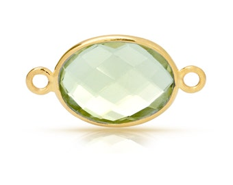 Sterling Silver Gold Plated 10x8mm Oval Green Amethyst Gemstone Connector - 1pc Good Quality Wholesale price (7590)/1