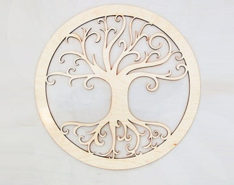 "12"" Tree of Life Sacred Wall Art - Raw Wood Home Decor"