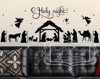 Nativity decal set - O Holy night - Christmas scene decal - Baby Jesus decal - Nativity decal