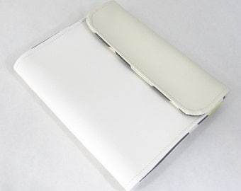 Vegan iPad Sleeve Tasca, White vinyl iPad case