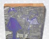 Antique Letter Press Metal on Wood Block Stamp Advertising Newspaper - Large Cartoon Man