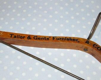 UNUSUAL Antique Vintage Wood Hanger TAILOR GENTS Canada Heavy Duty Advertising