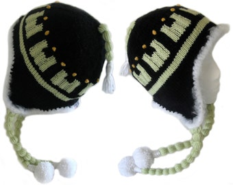 Noiz Anime Gamers Hat with Ear Flaps, Tassels and Pompoms