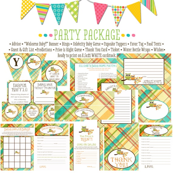 owl baby shower party package item 1216 package AS IS Matching games ticket banner bingo thank you card, water bottle wraps, cupcake toppers
