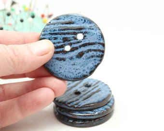 Four Blue Handmade Buttons, Large Round Buttons, Pottery Buttons, Big Blue Buttons