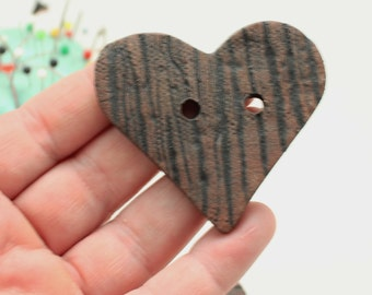 Three Heart Pottery Buttons, Wood Textured Buttons, Handmade Ceramic Buttons, Big Heart Buttons