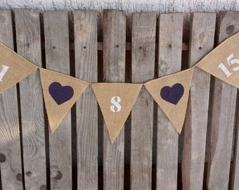 Save the date, burlap date bunting, save the date banner, wedding date, wedding prop