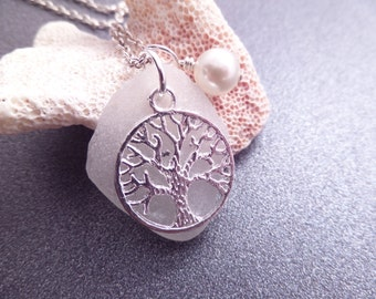 Tree of Life Necklace Scottish Sea Glass white and Silver with Pearl, June Birthstone Jewelry from Scotland