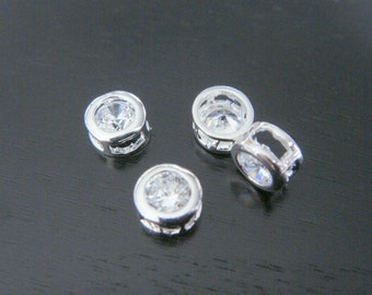 Silver Small round crystal Stone bead, clear cz connector, petite Clear Stone pendants, Gemstones, Beads, 2 pc, U52306