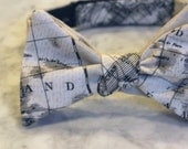Nautical Map in cream and black Parchment Bow Tie  - Groomsmen and wedding tie - clip on, pre-tied with strap or self tying