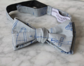 Blue and Gray Helicopter and Airplane Blueprint Bow Tie - Groomsmen and wedding tie - clip on, pre-tied with strap or self tying