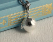 Silver Wish Ball locket necklace, secret hidden message fairy globe photo pendant Birthday Mother's Day Graduation Gift