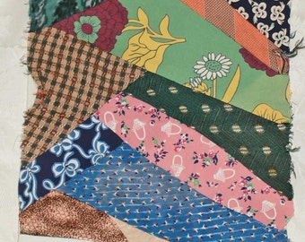 Crazy Quilt Panels For Pillows, Quilts, Piecework Vintage Prints -  in Silks, Rayons Prints and Solids