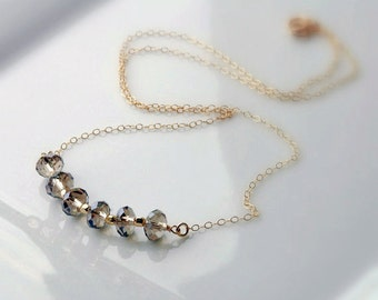 Crystal Necklace, Smokey Quartz, Beaded Necklace, Bar Necklace, Bead Necklace, Unique, Dressy Necklace, 14k Gold Fill or Sterling Silver