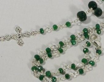 Rosary Necklace Natural Emerald Wire Wrapped With Sterling Silver Wire Birthstone Jewelry