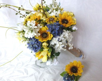 4 piece Sunflower wedding Country wedding Sunflower Bouquet set twine wrap country chic bouquet