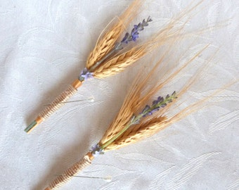 Set of 2 Wheat boutonnieres rustic boutonnieres country boutonnieres