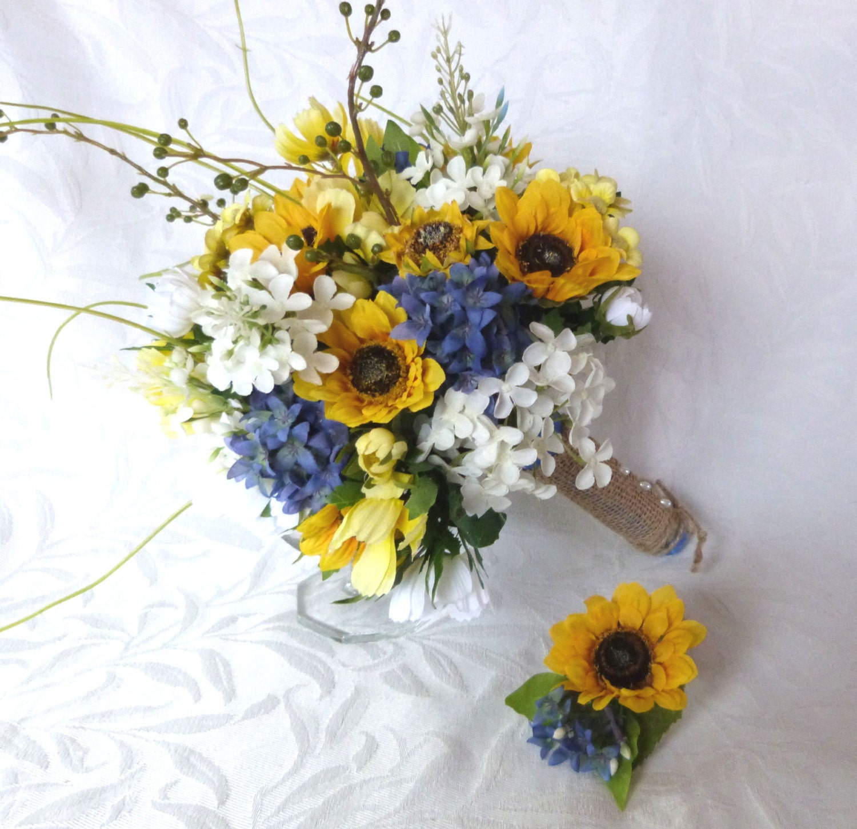Sunflower Wedding Bouquet Ideas: 4 Piece Sunflower Wedding Country Wedding Sunflower Bouquet