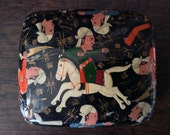 Vintage Black Genghis Khan Paper Mâché Box circa 1930-40's / English Shop