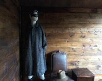 Vintage Irish Black Grey Size L Coat Ladies Herringbone Raglan Tweed Wool Warm Heavy Coat Outerwear circa 1960's / English Shop