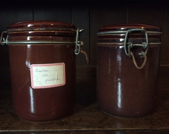 Vintage Portuguese heavy ceramic brown lidded jam preserve marmalade sugar flour food jar pots sold seperatly circa 1970's / English Shop