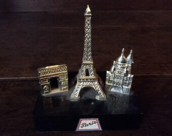 Vintage French Paris Eiffel Tower Arc de Triumph and Sacre Coeur table top souvenir circa 1970s / English Shop