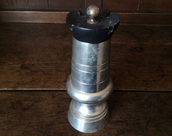 Vintage French heavy pewter king pawn chess piece pepper mill dispenser circa 1970's / English Shop