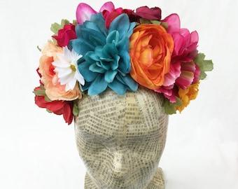 Frida Kahlo Flower Headpiece, Dia de los Muertos Flower Crown, Mexican Flower Headband, Frida Floral Crown, Costume, Fiesta, Headdress