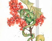 Winter Berry Dragon- whimsical  fairy fantasy dragon winter Christmas green red gold illustration