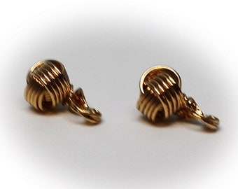 Vintage Gold Tone Wire Knot Earrings