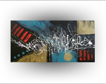 """Skye Taylor Original Painting Abstract Black Gold Red Teal Art Pallet Knife Painting,""""Heavens light"""", 48 x 24...ready to hang"""