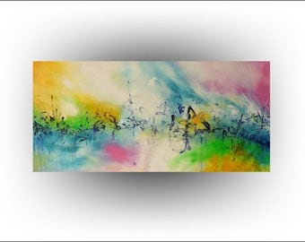 UNSTRETCHED Abstract Original Painting Canvas Surreal Art -30 x 66- A Day in the Life - Artist Skye Taylor