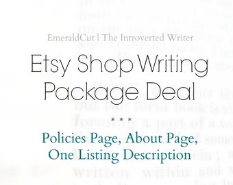 15% Off Etsy Shop Writing Service Package Deal: About Page, Policies, 1 Listing Description / Custom Etsy Seller Business Content SEO Help