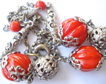 Art Deco Neiger Necklace Chrome with Red Glass Beads  20's 30's
