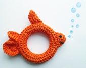 George the Goldfish Crochet Wood Teething Ring Teether Sensory Grasping Toy