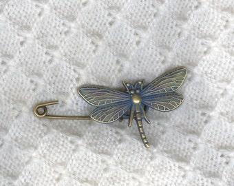 Shawl Pin, Brass Dragonfly Blanket Pin, Shawl Pin, Fibula, Scarf Pin, Shrug Pin, Kilt Pin, BentSpoonJewelry
