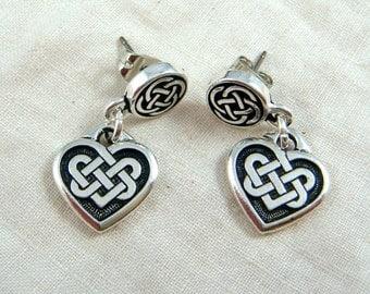 Celtic Earrings - Celtic Open Knot Earrings - Heart and Knot Earrings - Silver Celtic Earrings - Irish Charm Earrings