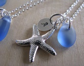 Cornflower Blue Personalized Starfish Necklace Light Blue Sea Glass Bridesmaid Necklace Beach Glass with Stamped Initial for Beach Wedding